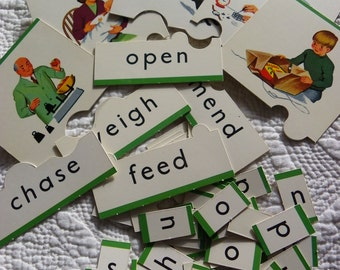Vintage WORD and PICTURE FLASH Cards - Educational