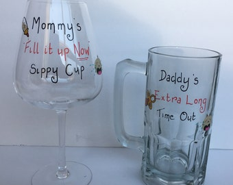 HUGE red wine  Mommy's Sippy Cup and tankard Daddy's Time out
