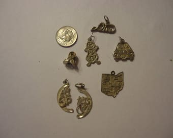 Lot of Vintage 925 Sterling Silver Charms, 7 Pieces, 14 Grams Total, Mixed Themes