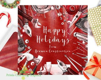 Construction Holiday Card • Christmas Card •  Custom Design • DIY Print Yourself or Here for a Buck!