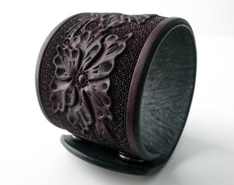 Four Flowers Leather Cuff - Small