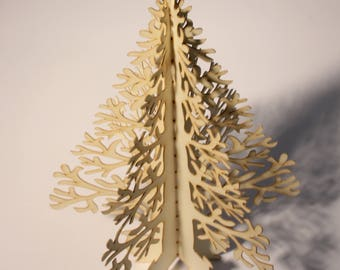 Christmas Tree greetings card, unique 3D, minimal delicate laser cut, fold out