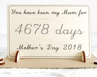Mother's Day Card - Mothers Day Gift - Card for Mum - Gift for Mum - Days Card - Wooden Card - Personalised Card - Card for Mom