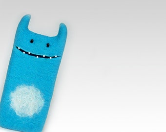 iPhone 8 felted blue Monster case, eco-friendly wool iPhone 8 cover, Free shipping
