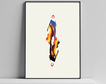 Flaming Ziggy- A David Bowie Inspired Illustrated Art Print. Matte and Giclee Art Posters. Abstract Music Poster - London Prints.