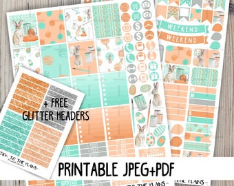 Easter bunny printable planner stickers watercolor easter bunny eggs paint brushes april sticker set for use with Erin Condren LifePlannerTM