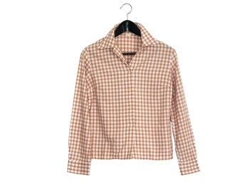70s gingham vintage women shirt / white and beige / checked shirt