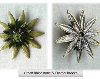 Green Rhinestone & Enamel Flower Brooch