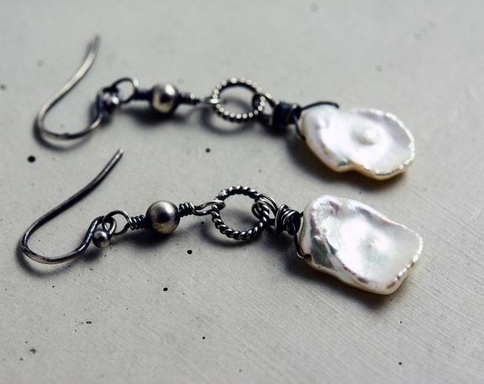 June Birthstone Pearl Earrings, Freshwater Pearls, Keishi Ivory Pearl, Pearl Drop Earrings