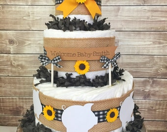 Barbecue Baby Shower Diaper Cake in Gingham and Burlap, Baby Q Centerpiece, Decorations