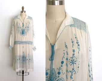 vintage 1920s dress | 20s Hungarian embroidered dress