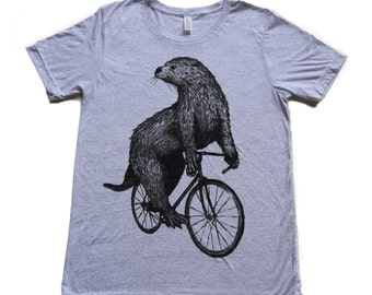 Otter on a Bicycle - Mens T Shirt, Unisex Tee, Tri Blend Tee, Handmade graphic tee, sizes xs-xxl