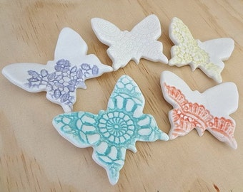 Ceramic wall art. Five porcelain butterflies in pastel colours with lace imprints. Wall hanging, Butterfly wall decor. Baby room decor.