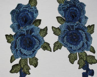 Pair of blue flower applique