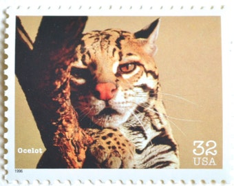 5 Unused Ocelot Wildcat Postage Stamps Vintage 32 Cent Endangered Species Stamps