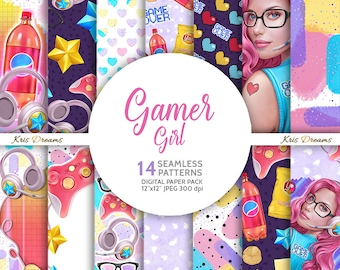 Gamer Girl Digital Paper Seamless Pattern Woman Illustration Woman Portrait Pink Hair Gaming Console Junk Food Retro Game Neon Colors
