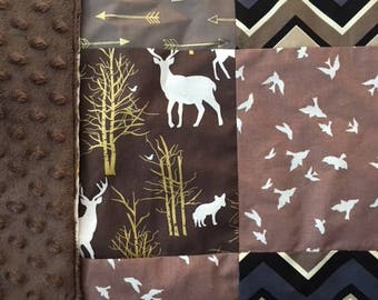 Modern Baby Minky Patchwork Blanket Gender Neutral Deer Birds  Brambleberry Ridge Stroller Shower gift  gifts under 30  lovey