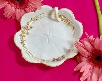 Vintage Handpainted Nippon One-Handled Serving Dish, Nippon Candy Dish, Pink Floral Nippon Dining pieces, Cottage Chic Nippon China
