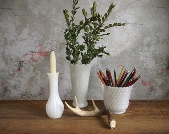 Milk Glass Vase Collection , Vintage Set of 3 Translucent White Milk Glass Vases , Instant Collection , Cottage Chic Bridal Wedding Decor