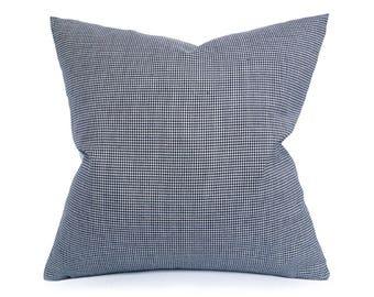Blue Houndstooth Pillow, Plaid Throw Pillows, Blue White Pillow, Blue Accent Pillows, Gift for Him, Masculine Decor, Zipper, 12x20, 20x20