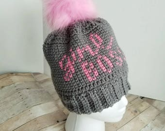 Girl Boss Hat, Crochet Beanie, Faux Fur Pom Pom, Gray knit hat with Pink Lettering, pink fluffy pompom, Mom boss, winter hat, Ready to Ship