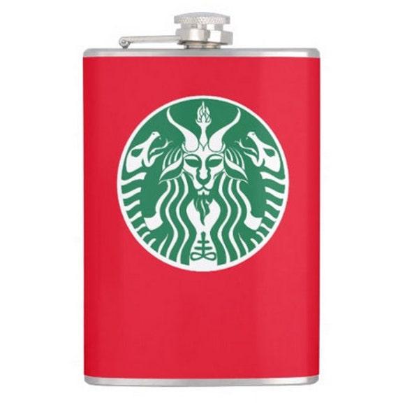 Starbucks Baphomet hip flask