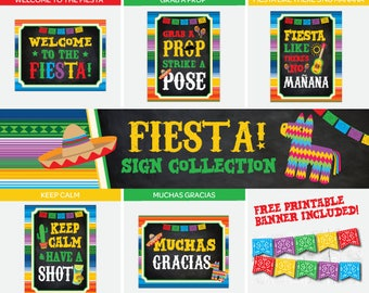 Fiesta Sign Package, Mexican Birthday Party Decorations, Fiesta Baby Shower, Instant Download