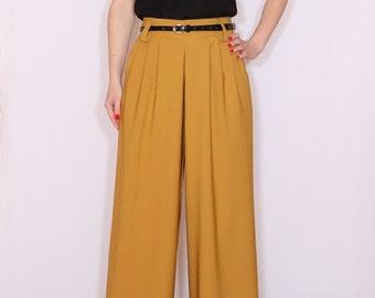 High waist Wide leg pants, Mustard yellow pants with pockets, Womens pants, Custom made clothing