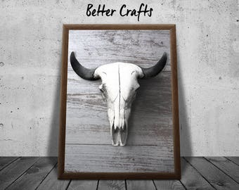 Cow Skull on Wood | Wall Art | Contemporary art Print | Direct Download | Home Decor