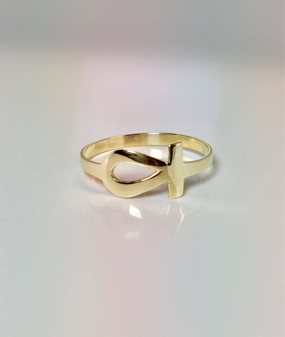SALE 10k Solid Gold Ankh Ring Gold Midi Rings Gold Pinky