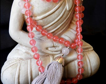 Mala Beads-Cherry Quartz and White Jade Hand-knotted Mala-108 Beads-Tassel Necklace-Yoga Jewellery-Handmade-Energised