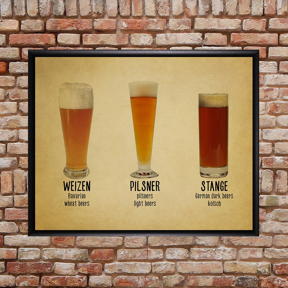 Beer Poster Bar Art Beer Glass Print Glass Chart Types