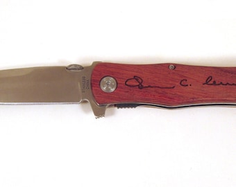 Engraved Knife with Wooden Handle - You Provide Handwriting