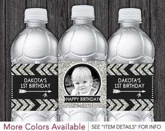 Tribal Birthday Water Bottle Labels | Printable Tribal Birthday Party Decorations | DIY Digital File