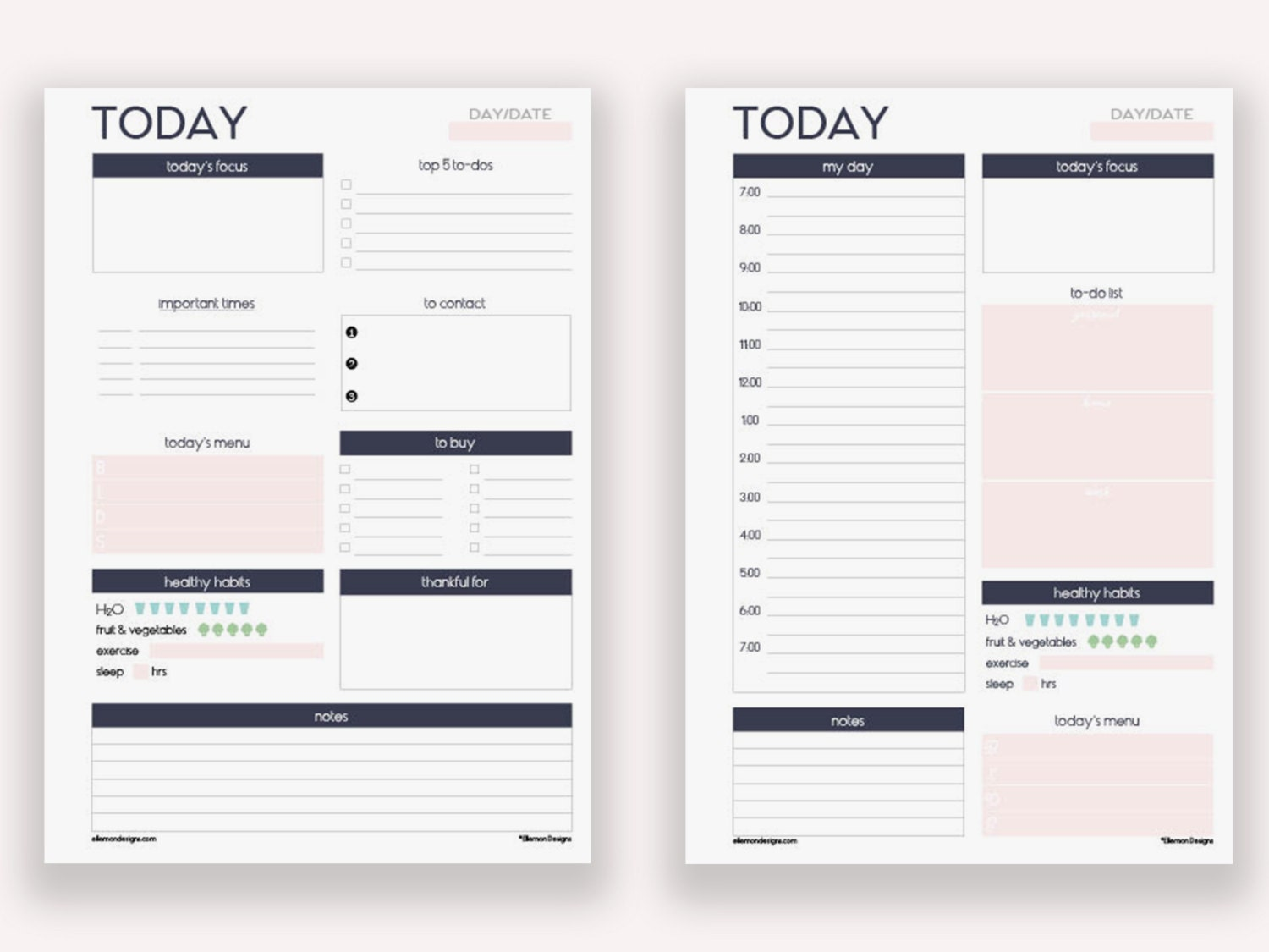 Two a5 daily planners printable inserts refills also fits for Remodeling planner free online