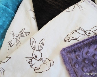 Chocolate Brown or Teal Bunny Rabbit Baby Blanket / Quilt