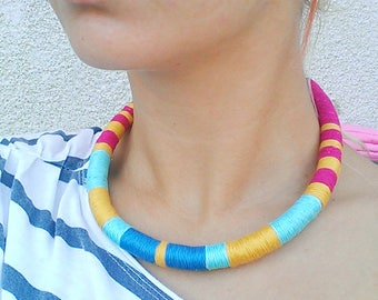 Thread Necklace, Choker Necklace, Chokers, African Necklace, Tribal necklace, African jewelry, Thread Wrapped Necklace, Gift For Her, Boho