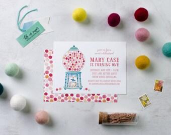 BUBBLE GUM birthday invitation - gum ball invitation - first birthday invite - birthday party invitation