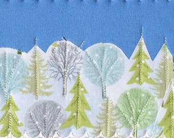Christmas Card - Fabric Postcard - Winter Snow Landscape - Snow Covered Trees - Greeting Card - Coworker Gift - Boss Gift - Winter Landscape