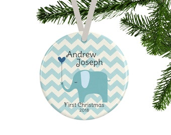 Baby's First Christmas Ornament, Personalized Baby Boy Gift, Baby Shower Gift, Keepsake Ornament, New Parent Gift, Blue Elephant
