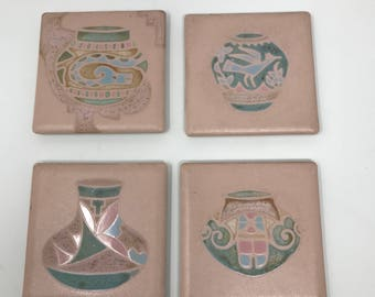 Southwestern Native American Tile by Cleo Teissedre Set of 4