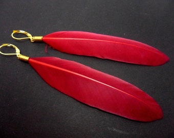 A pair of long red feather dangly leverback hook earrings. New.