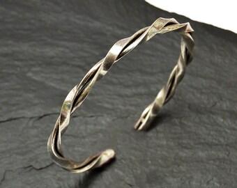 Mens Silver Bracelet, Mens Bracelet, Silver Cuff Bracelet, Twisted Bracelet, Silver Bangle, Mens Silver Cuff, Twisted Bracelet