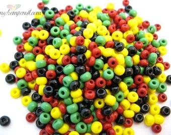 Glass Seed Beads, Rasta Assorted Mix, Size 6/0