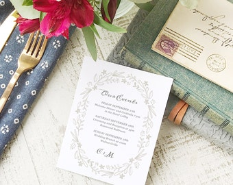 Wedding Agenda Card, Printable Wedding Timeline Letter, Events Card, Floral Wreath, Itinerary, Agenda, Hotel Card - INSTANT DOWNLOAD