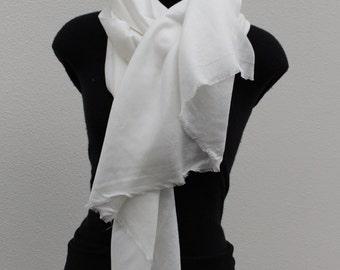 Silk Cashmere Scarf - White