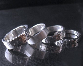 Twilight -hammered finish sterling silver ring