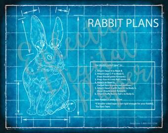 Computer blueprint etsy funny rabbit blueprint rabbit poster rabbit wall art gift for rabbit lover malvernweather Image collections