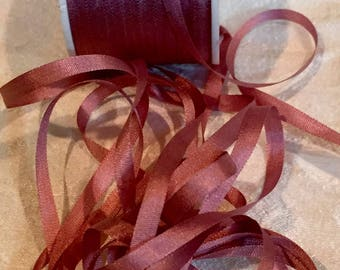 Gorgeous Rose 4mm Silk Ribbon ~ 5 yard cut VAB159
