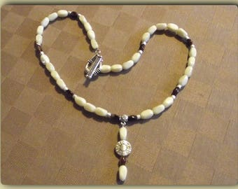 The Choker necklace ivory pearls and brown brown off white necklace